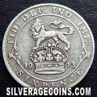 1913 George V British Silver Sixpence (.925)