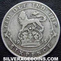 1915 George V British Silver Sixpence