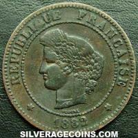 1882 A French Bronze 5 Cents