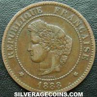 1888 A French Bronze 5 Cents