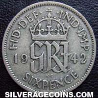 1942 George VI British Silver Sixpence