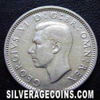 1943 George VI British Silver Sixpence