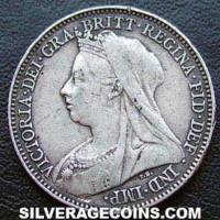 "1897 Victoria British Silver ""Widow Head"" Sixpence"