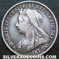 "1899 Victoria British Silver ""Widow Head"" Sixpence"
