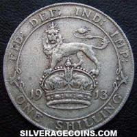 1913 George V British Silver Shilling (type 1)