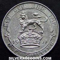 1911-2A George V British Silver Shilling (type 1)
