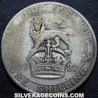 1922 bright George V British Silver Shilling (type 2)