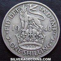 1940 George VI English Silver Shilling