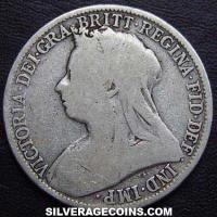 "1899 Queen Victoria British Silver ""Widow Head"" Florin (2 Shillings)"