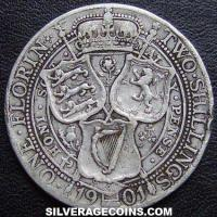 "1901 Queen Victoria British Silver ""Widow Head"" Florin (2 Shillings)"