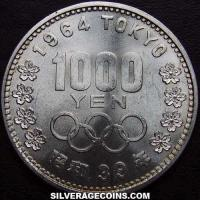 Yr.39 (1964) Hirohito Japanese Silver 1000 Yen (1964 Olympics)