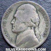 """1943S United States 5 Cents """"Jefferson Nickel"""" (War-time)"""