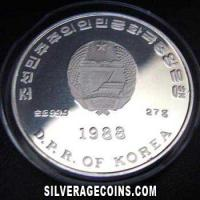 1988 Proof North Korea 500 Won Silver Proof (Italy 1990 World Cup)