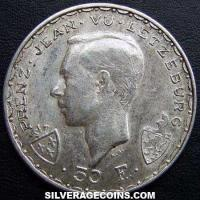 ND(1946) Luxembourg Silver 50 Francs (John the Blind)