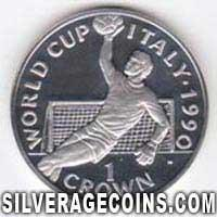1990 Proof Gibraltar 1 Crown Silver Proof (Italy 1990 Footbal World Cup)