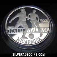 1990 Proof Nicaragua 10000 Cordobas Silver Proof (Italy 1990 World Cup)