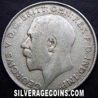 1922 bright George V British Silver Florin (2 Shillings)