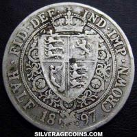 "1897 Queen Victoria British Silver ""Widow Head"" Half Crown"