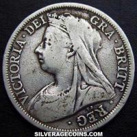 "1901 Queen Victoria British Silver ""Widow Head"" Half Crown"