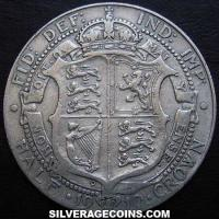 1910 Edward VII British Silver Half Crown