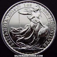 2014 2 Pounds 1 Ounce Silver Britannia (updated reverse)