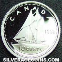 1998 Proof Elizabeth II Canadian Silver Proof 10 Cents