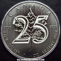 2013 Canadian 5 Dollars 1 Ounce Silver Maple Leaf (25th Anniversary)