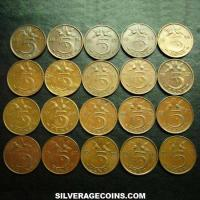 1950-1980 (20) Lot of 20 Different Dates Netherlands Juliana Bronze 5 Cents