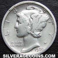 "1920 D United States ""Mercury Dime"" Silver 10 Cents"