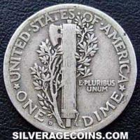 1920D United States Silver Mercury Dime 10 Cents