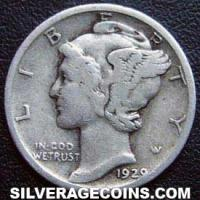 "1929 United States ""Mercury Dime"" Silver 10 Cents"