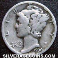 "1930 United States ""Mercury Dime"" Silver 10 Cents"