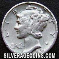 1936S United States Silver Mercury Dime 10 Cents