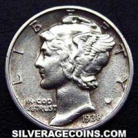 1938 United States Silver Mercury Dime 10 Cents
