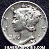 1939D United States Silver Mercury Dime 10 Cents