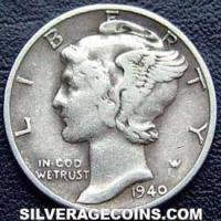 1940 United States Silver Mercury Dime 10 Cents