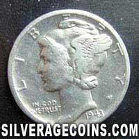 1943D United States Silver Mercury Dime 10 Cents