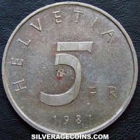 1981 Proof Swiss 5 Francs (Stans Convention)