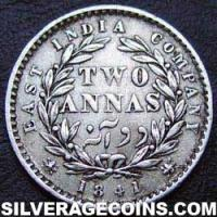 1841 (c) Queen Victoria East India Company Silver 2 Annas