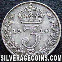 1914-2B George V British Silver Threepence (type 1)