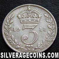 1911-1A George V British Silver Threepence (type 1)