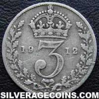 1912 George V British Silver Threepence (type 1)