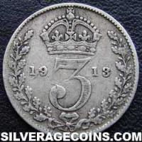 1913 George V British Silver Threepence (type 1)