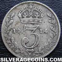 1914-3B George V British Silver Threepence (type 1)