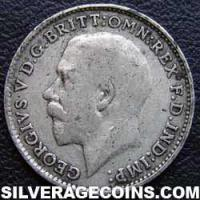 1915 George V British Silver Threepence (type 1)