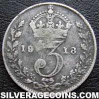 1918 George V British Silver Threepence (type 1)