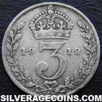 1919 George V British Silver Threepence (type 1)