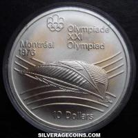 1976 Canadian Silver 10 Dollars (Montreal Olympics, Velodrome)