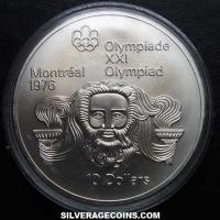 1974 Canadian Silver 10 Dollars (Montreal Olympics, Zeus)