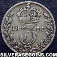 1921 George V British Silver Threepence (type 2)